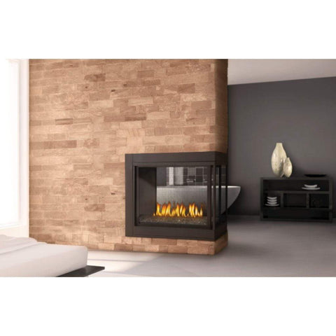 "Napoleon Ascent 43"" Multi-View Direct Vent Peninsula Gas Fireplace with Glass Bed - US Fireplace Store"