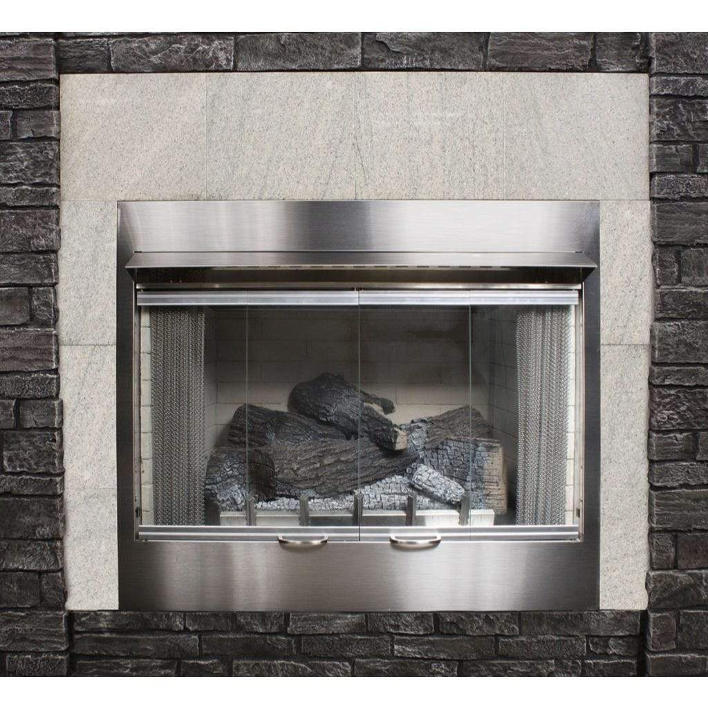 "Empire Carol Rose 42"" Bi-Fold Glass Door, SS Frame, Premium Outdoor Firebox Accessory - US Fireplace Store"