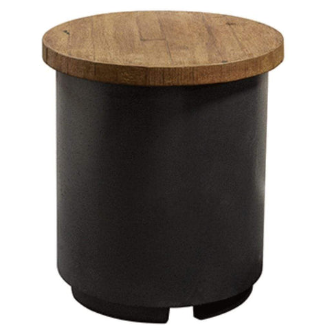 "American Fyre Designs 17""Reclaimed Wood Contempo Base in Black Lava Tank/ End Table - US Fireplace Store"