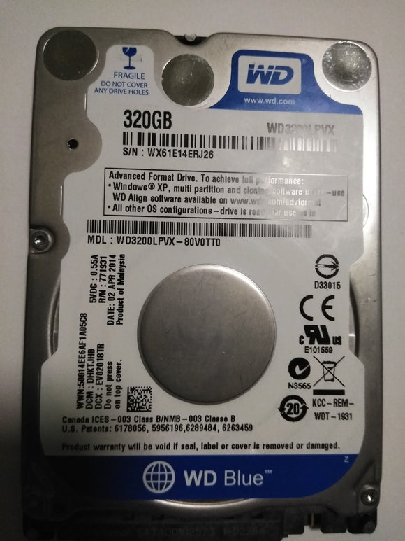 WD BLUE 320GB WD3200-LPVX 6GBPS SATA LAPTOP HARD DISK.