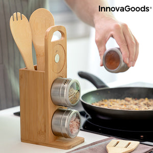 Set of Magnetic Spice Racks with Bamboo Utensils Bamsa InnovaGoods 7 Kappaletta