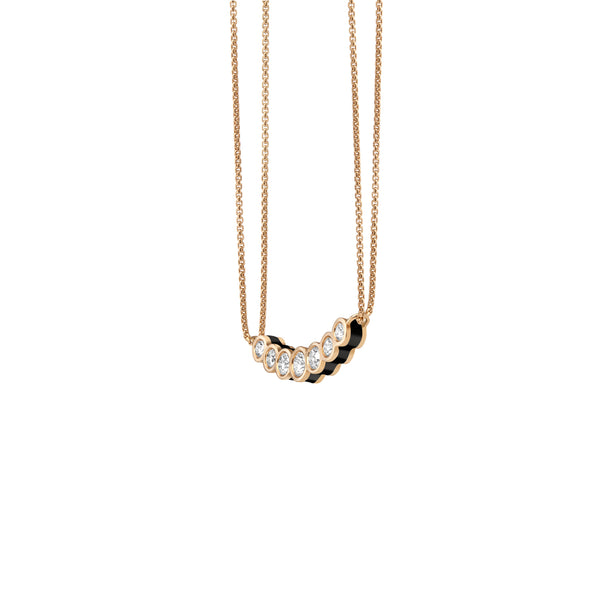 Curved Black Enamel Necklace - Diamond