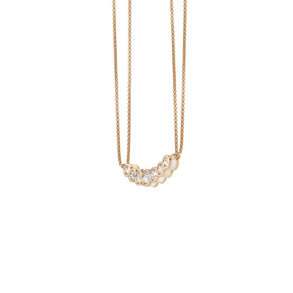 Curved White Enamel Necklace - Diamond