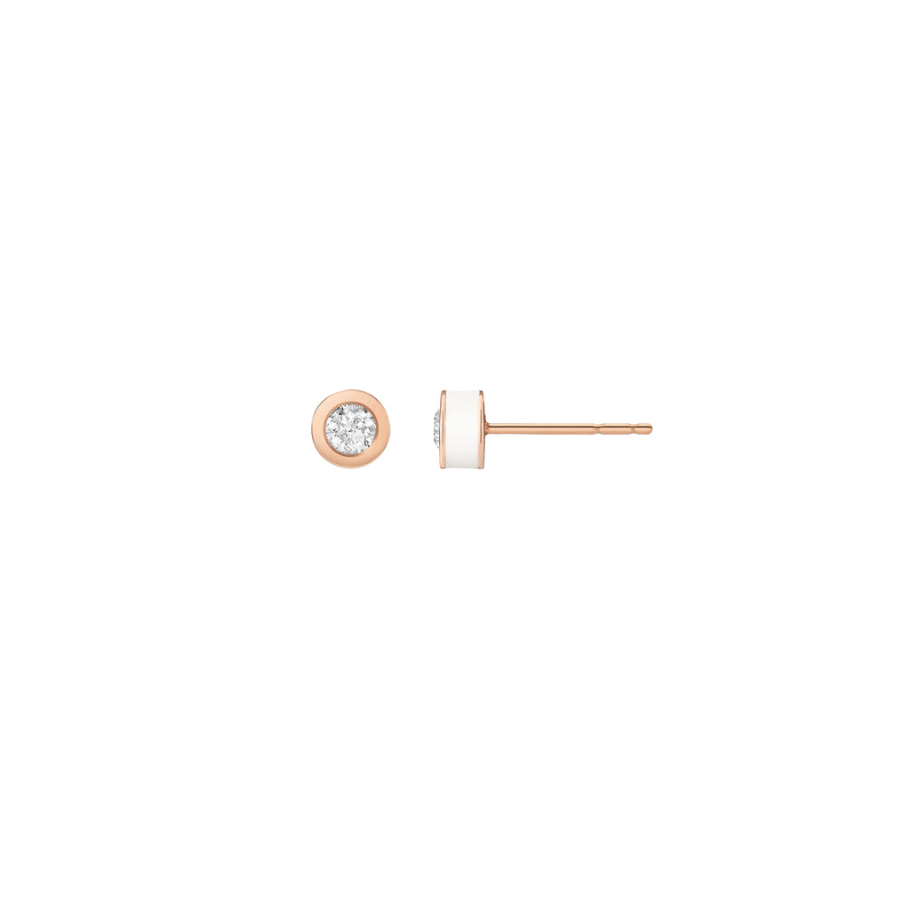 White Enamel Studs - Diamond