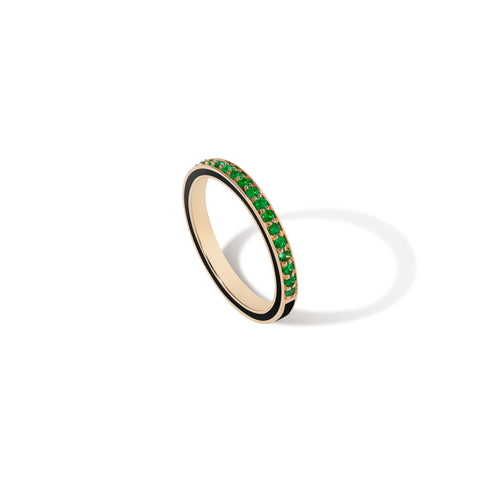 1.5 MM Black Enamel Band - Emerald