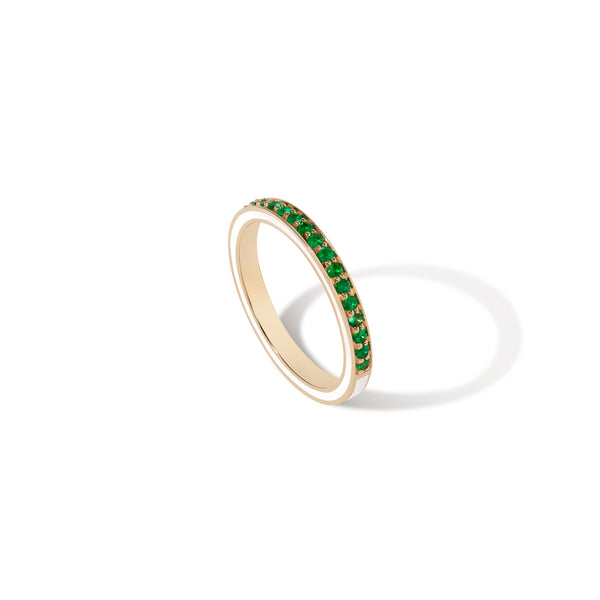 1.5 MM White Enamel Band - Emerald