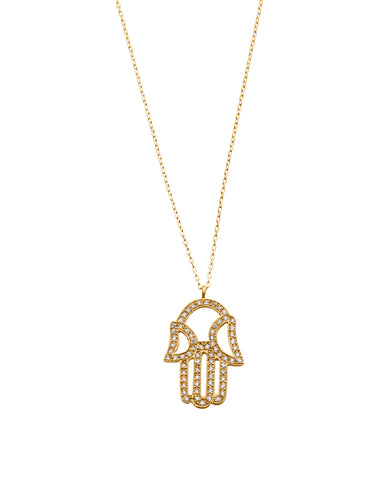 Hamsa Talisman Necklace - Diamond