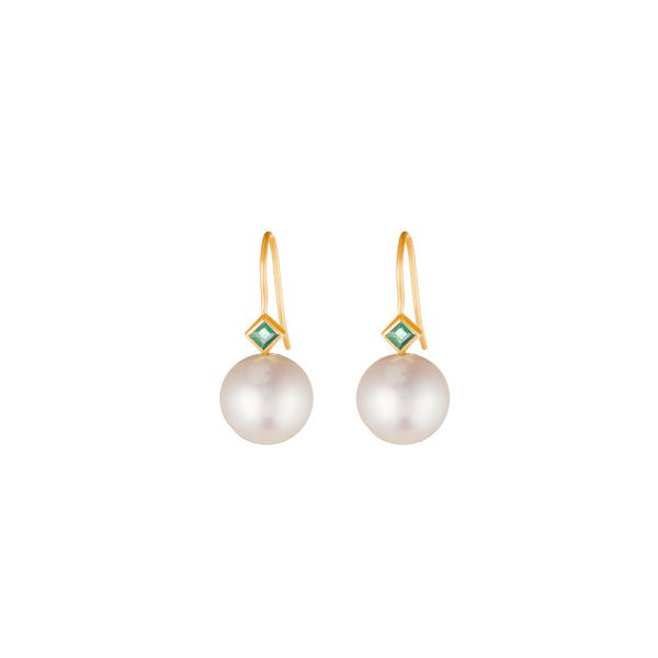 Princess Pearl Earrings - Emerald