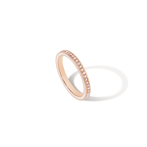 1.2 MM Blush Enamel Band - Pink Diamonds