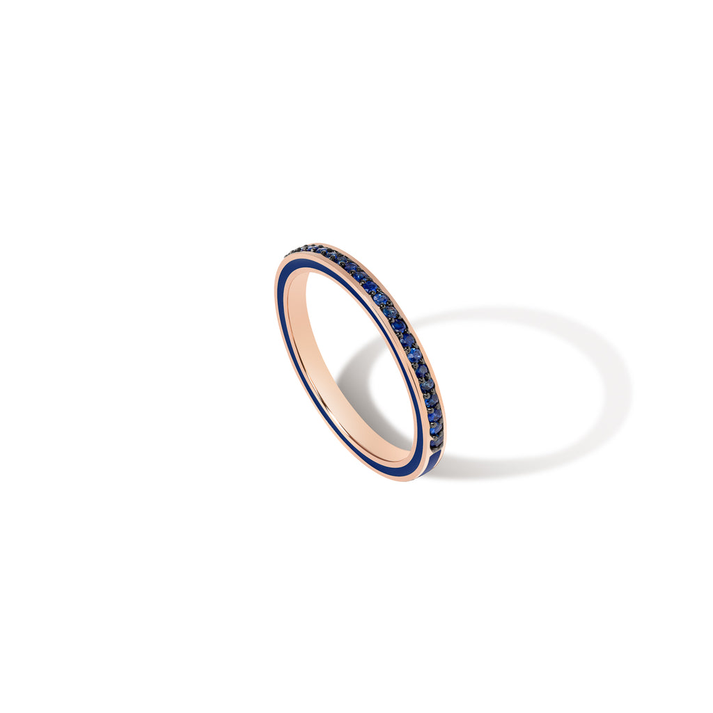 1.2MM Deep Blue Enamel Band - Blue Sapphire