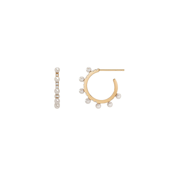 Spikey Pearl Hoop Earrings - White Diamond