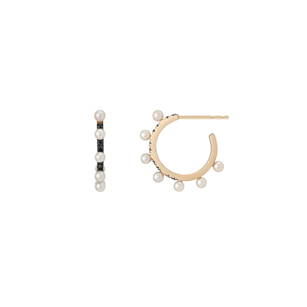 Spikey Pearl Hoop Earrings - Black Diamond