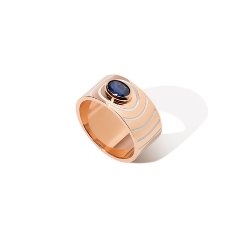 Aura Ring - Blue Sapphire with White Enamel