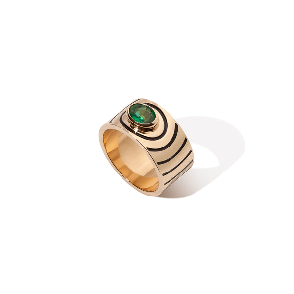 Aura Ring - Emerald with Black Enamel