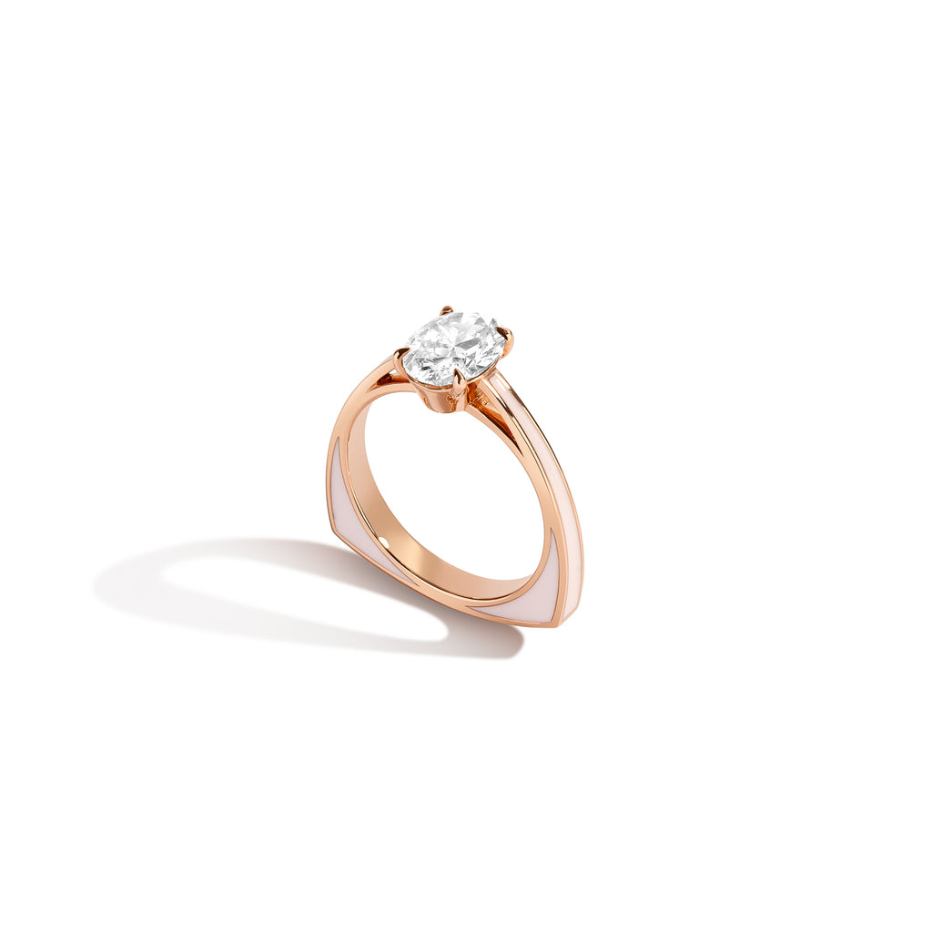 Diamond Foundry Blush Pink Enamel Diamond Ring