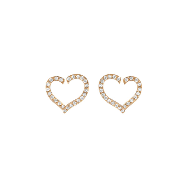Open Heart Earrings - Diamonds