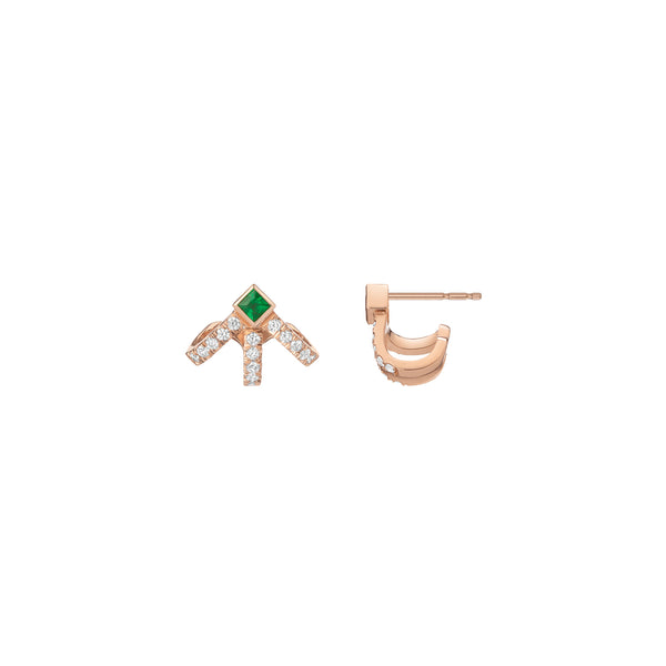 Krissy Cage Earrings - Emeralds & Diamonds