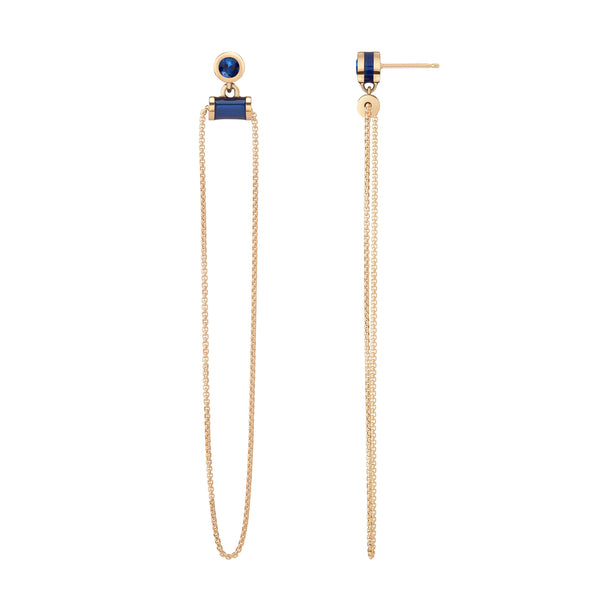 Alise Earrings - Deep Blue Enamel