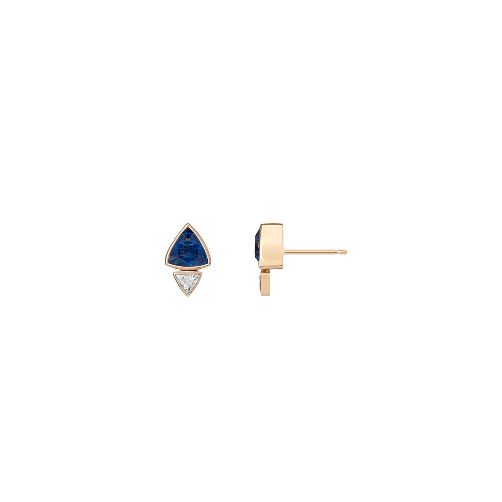 Double Trillion Sapphire and Diamond Studs