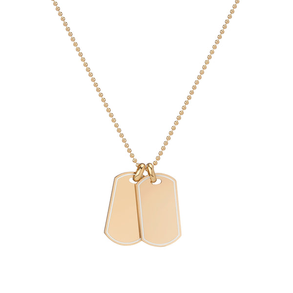 Dog Tag Necklace with White Enamel