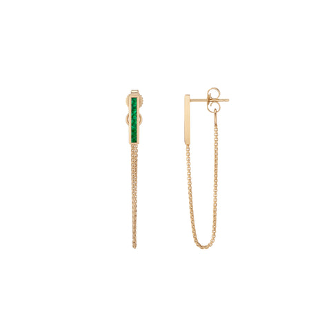 Channel Bar Chain Earrings - Emerald