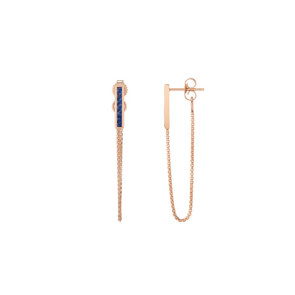 Channel Bar Chain Earrings - Sapphire