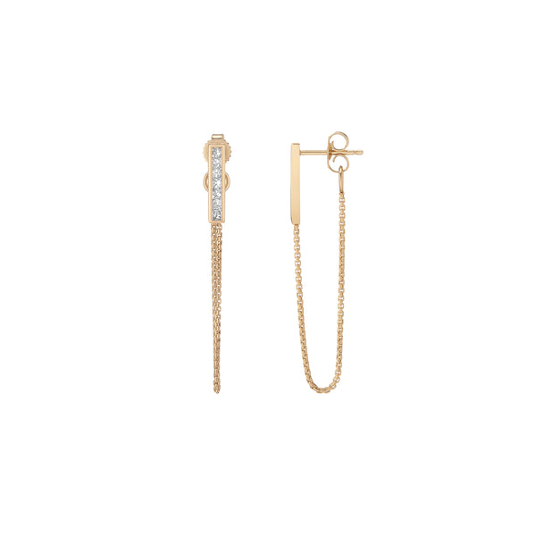 Channel Bar Chain Earrings - Diamond