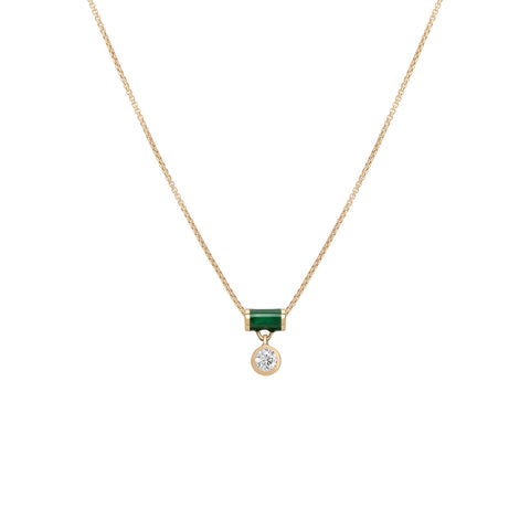 Floating Tube Enamel Necklace - Diamond