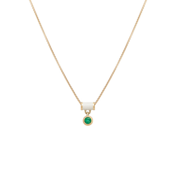 Floating Tube Enamel Necklace - Emerald
