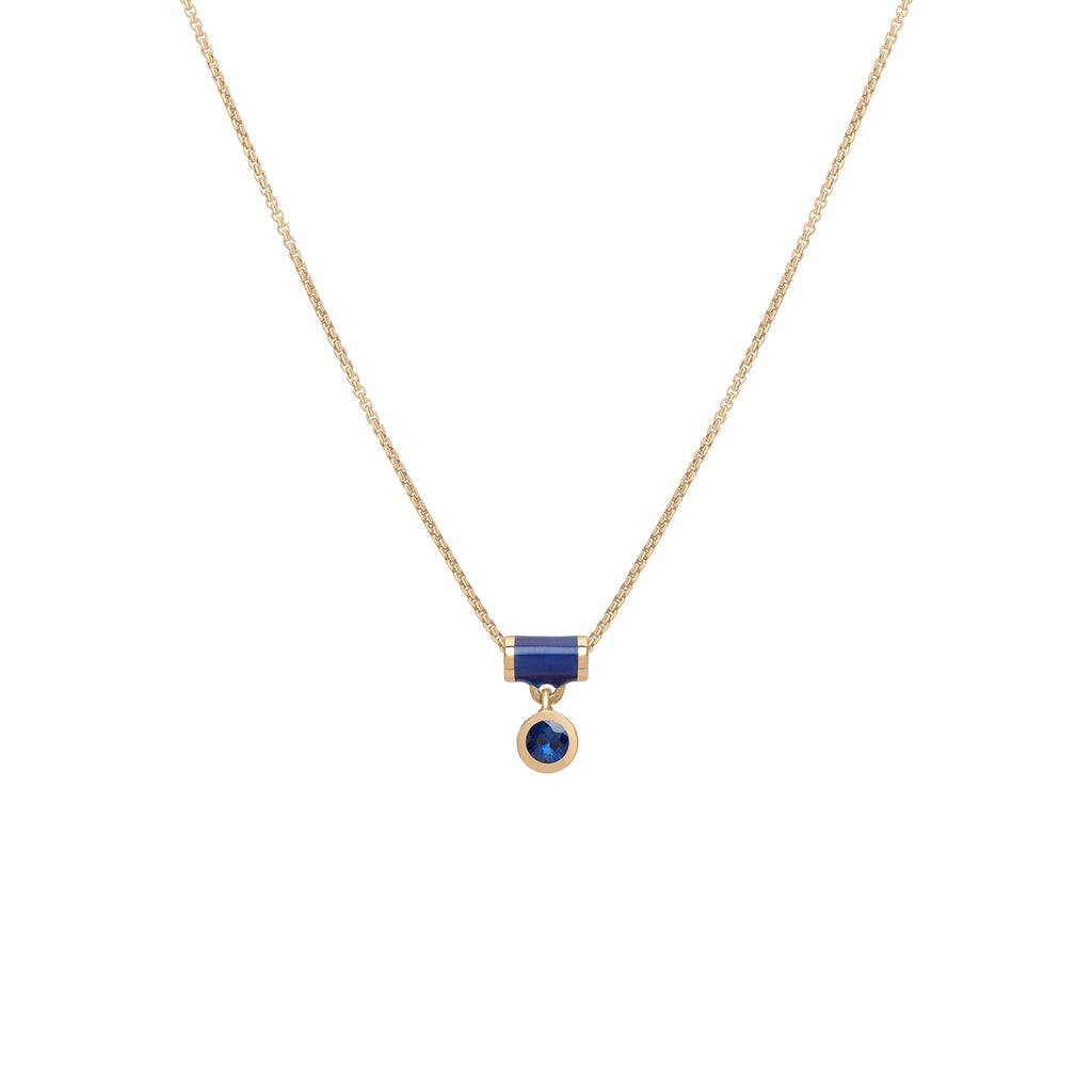 Floating Tube Enamel Necklace - Sapphire