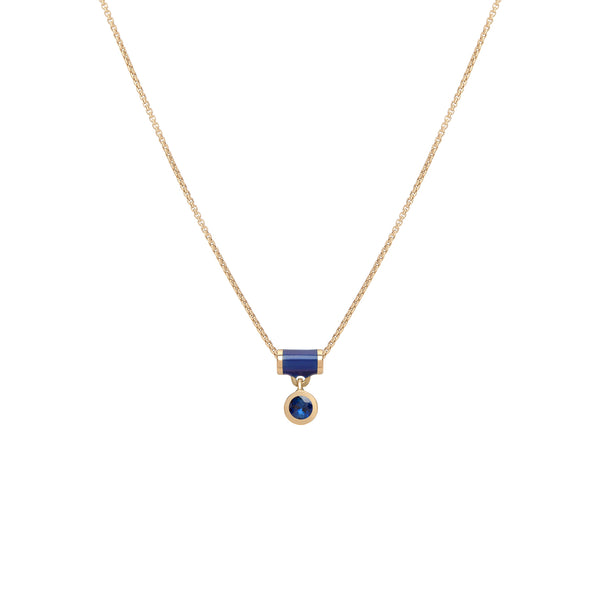 Floating Tube Necklace - Sapphire