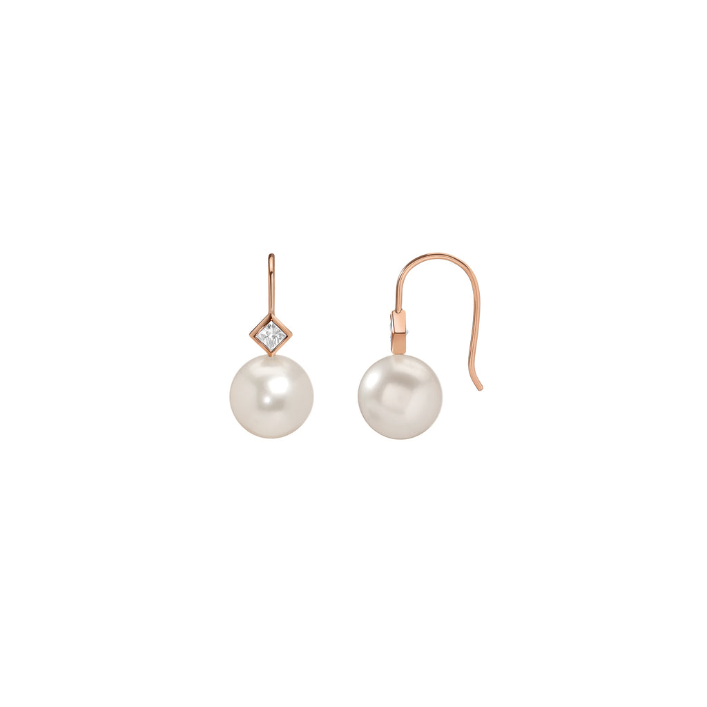 Princess Pearl Earrings - Diamond