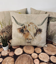 Load image into Gallery viewer, Fabric Cushion, Highland Cow - Butterfly Crafts
