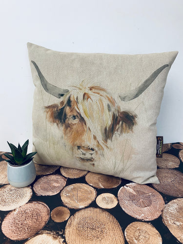 Fabric Cushion, Highland Cow - Butterfly Crafts