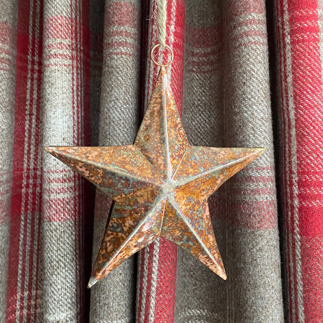 Rustic Copper Colour Star Tree Decoration - Butterfly Crafts