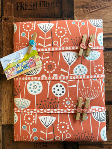 Fabric Notice Board, Orange Flowers - Butterfly Crafts