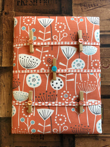 Fabric Notice Board - Orange Flowers - Butterfly Crafts