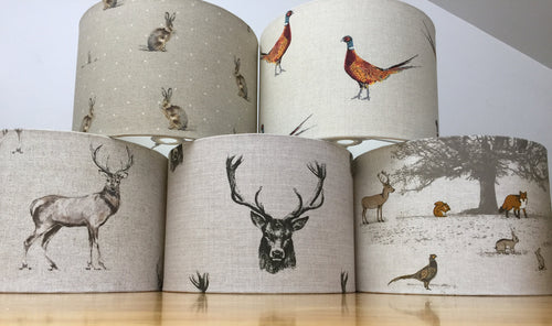 Drum lampshade - Stag, Hare and Woodland - Butterfly Crafts