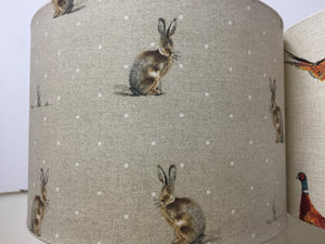 Drum lampshade - Pheasant, Stag, Hare and Woodland - Butterfly Crafts