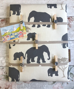 Fabric Notice Board, Elephants - Butterfly Crafts