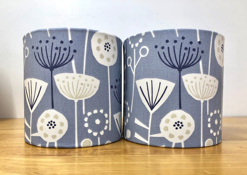 Drum Lampshade - Scandinavian Flowers and Birds Blue - Butterfly Crafts