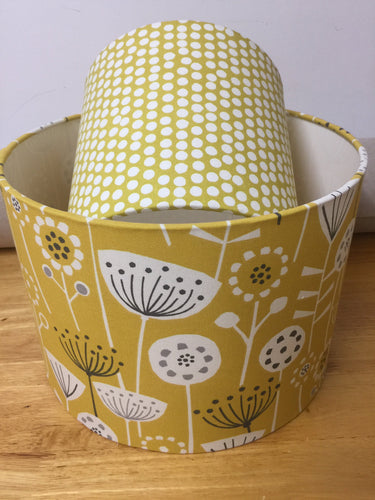 Drum lampshade - Scandinavian Flowers and Birds Yellow - Butterfly Crafts