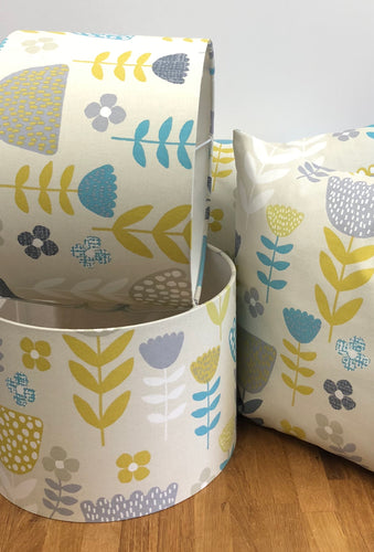 Drum Lampshade - Teal Flowers - Butterfly Crafts