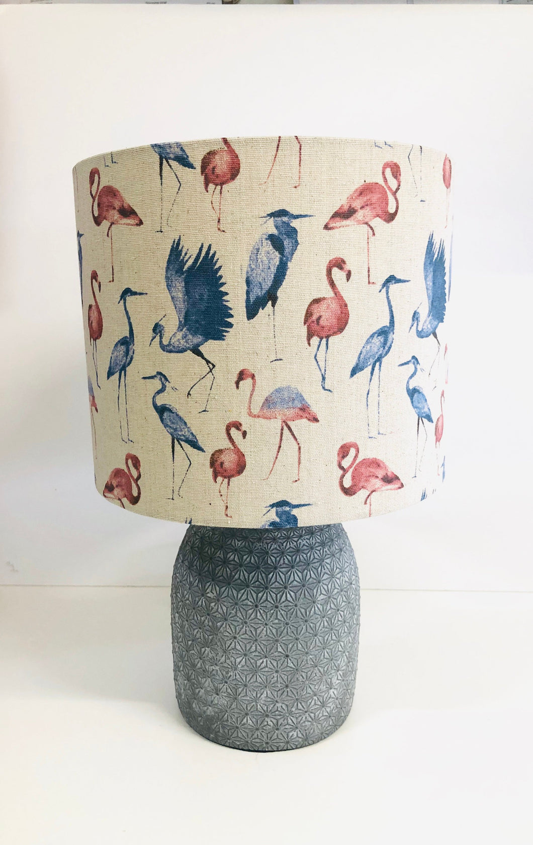 Drum lampshade - Stork and Flamingo - Butterfly Crafts