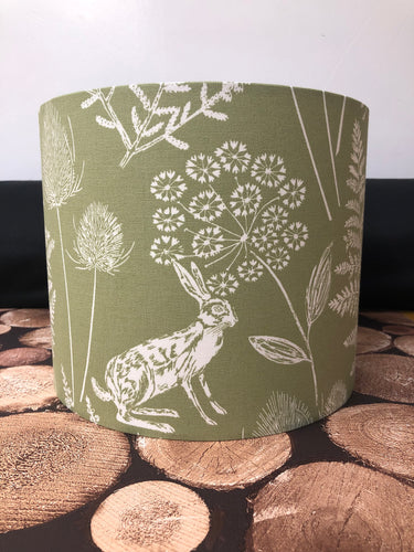 Drum Lampshade - Country Green Hare - Butterfly Crafts