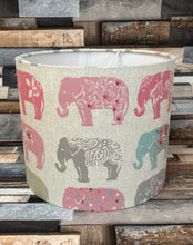 Load image into Gallery viewer, Drum Lampshade - Pink Elephants - Butterfly Crafts