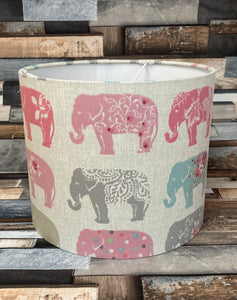 Drum Lampshade - Pink Elephants - Butterfly Crafts