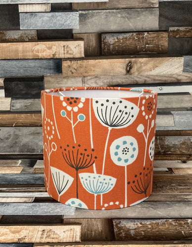 Drum Lampshade - Scandinavian Flowers and Birds Orange - Butterfly Crafts