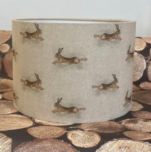 Drum lampshade - Country Leaping Hare - Butterfly Crafts