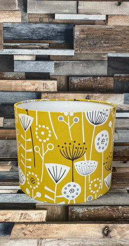 Drum lampshade - Scandinavian Flowers Yellow - Butterfly Crafts